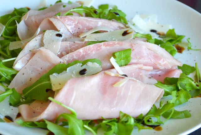 Ham, Rocket, Parmesan Cheese and dressed with Balsamic Vinegar