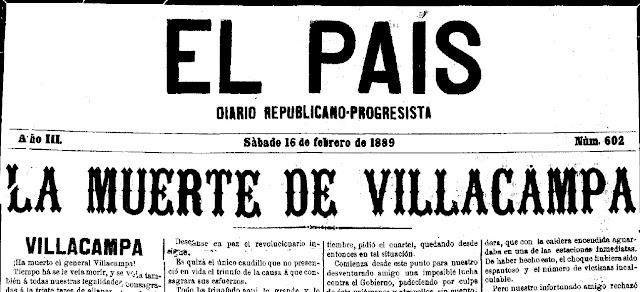 Fragmento de la portada de El País con la noticia de la muerte de Villacampa