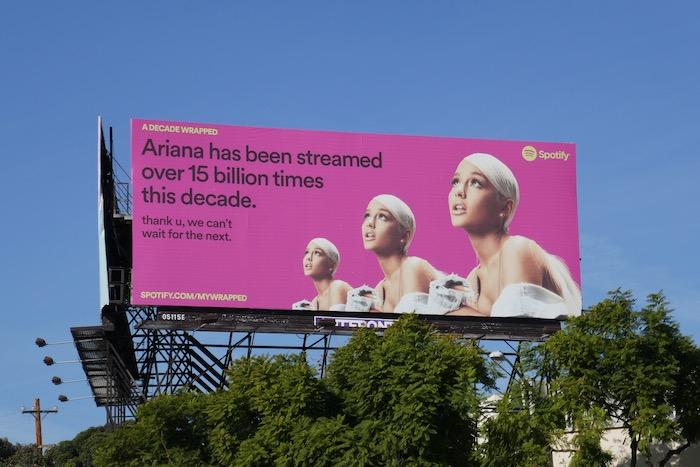 Ariana streamed over 15 billion times decade Spotify billboard