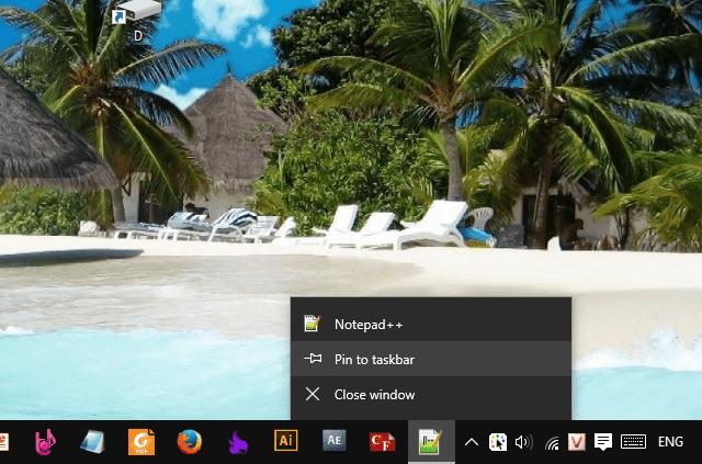 Cách pin icon lên taskbar