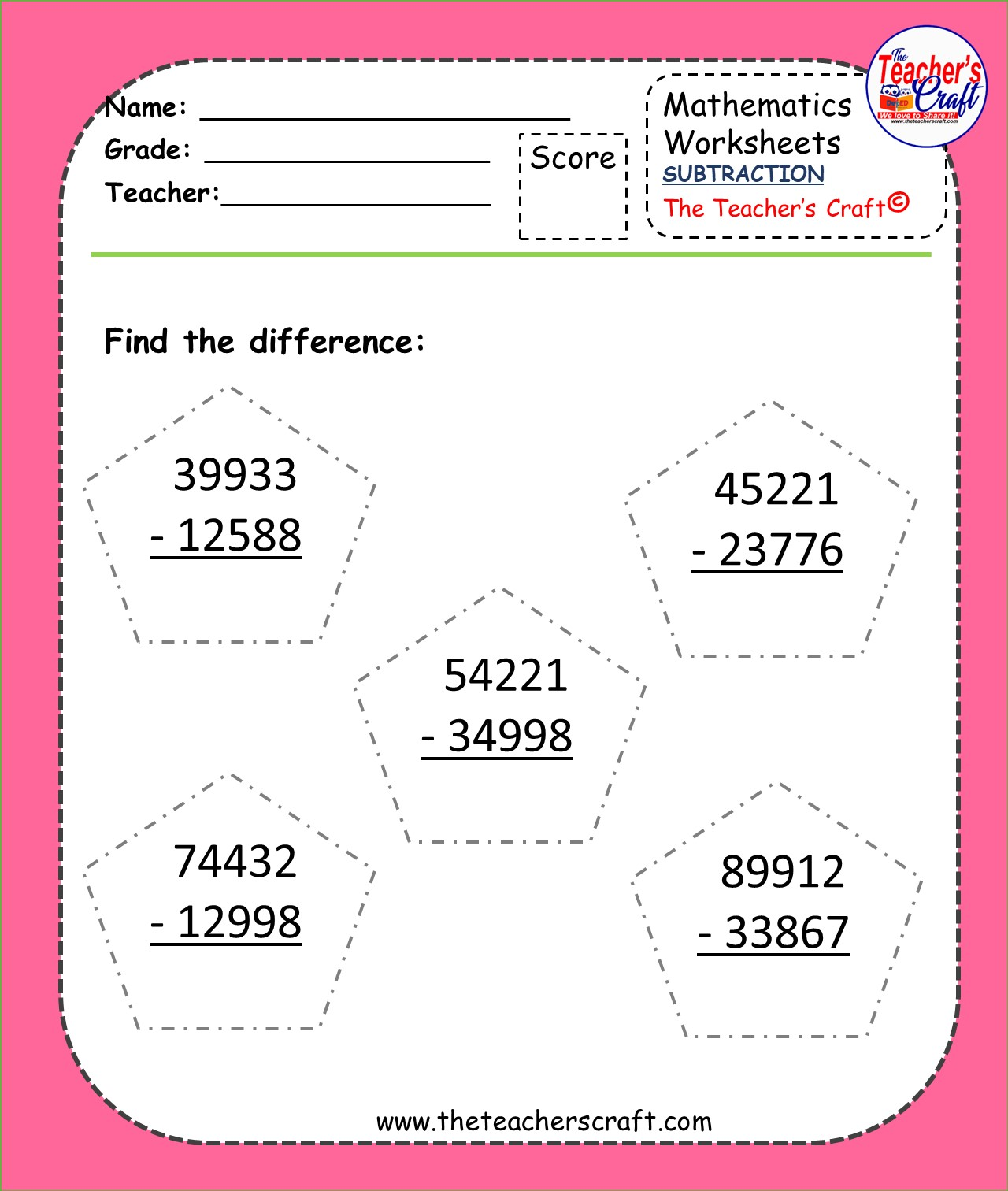 Subtraction Activity Worksheets For Intermediate