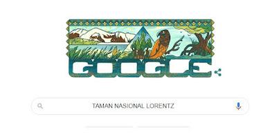 Logo Logo Google yang dimodifikasi sedemikian rupa yang ditampilkan pada saat ada peringa Indahnya Pesona Taman Nasional Lorentz dirayakan Google Doodle ( Icon atau Gambar di pencarian Laman Google)