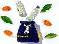 Logo Duo Crema mani e l'Huile Souplesse Mandorla+ pochon in velluto in omaggio con qualsiasi acquisto