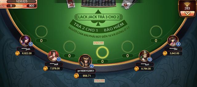 Quá trình chơi blackjack tại nha cai vnd188