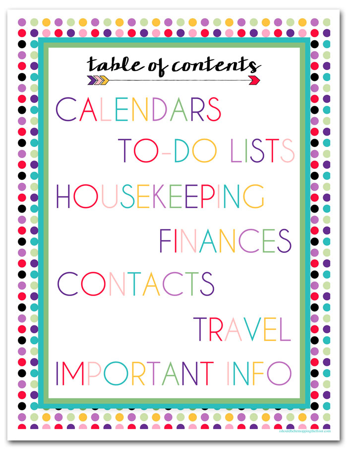 Home Binder Table of Contents