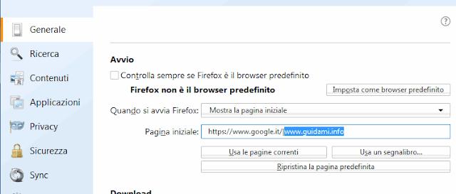 Firefox aggiungere più pagine web all'avvio