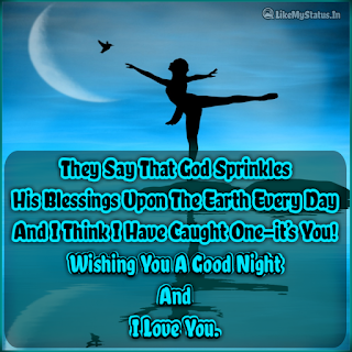 They Say That God Sprinkles His Blessings Upon The Earth Every Day And I Think I Have Caught One—it's You! Wishing You A Good Night And I Love You.