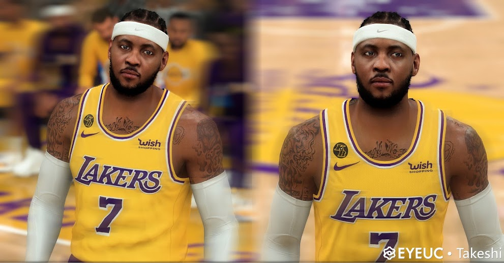 NBA 2K22 Carmelo Anthony Cyberface, Hair and BOdy Model Lakers Version  by takeshi