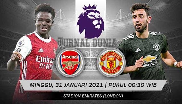 Prediksi Arsenal vs Manchester United, Minggu 31 Januari 2021 Pukul 00.30 WIB @ Mola TV