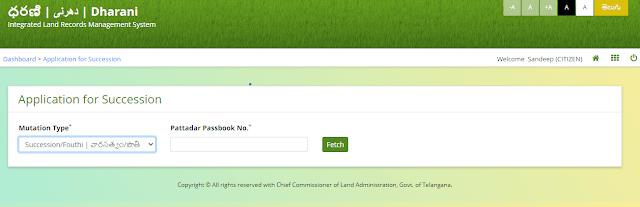 online succession registration telangana land records portal