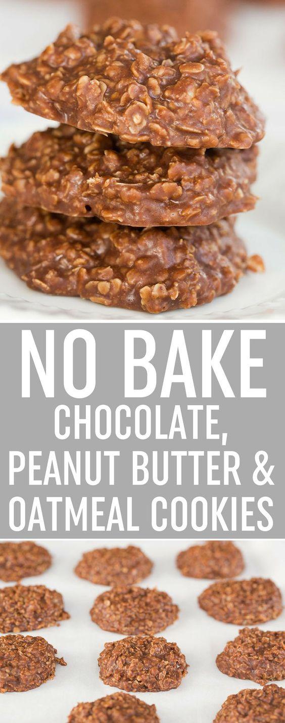 No Bake Chocolate, Peanut Butter & Oatmeal Cookies Recipe