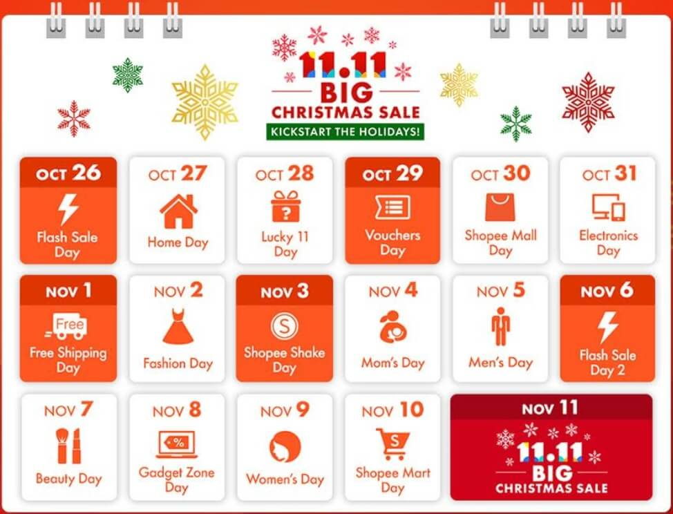 Shopee 11.11 Big Christmas Sale Calendar