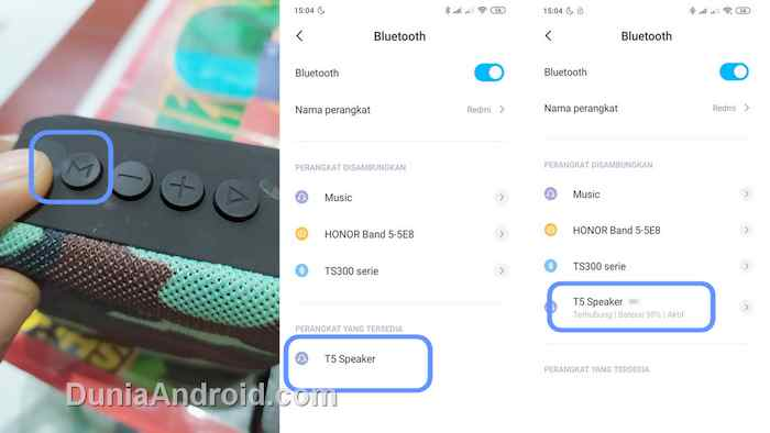 Pairing menu bluetooth android ke T5 Mini speaker