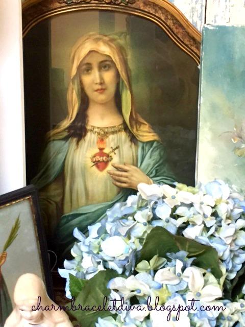 vintage Madonna Sacred Heart painting