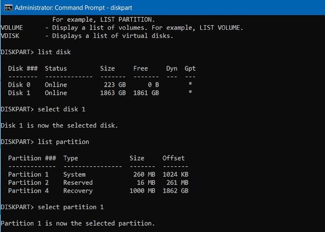 diskpart command delete partition