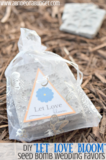 Looking for the perfect spring wedding favor? Make these DIY Let Love Bloom Seed Bomb Wedding Favors from www.abrideonabudget.com. Plus, you can get a free printable for the tags too.