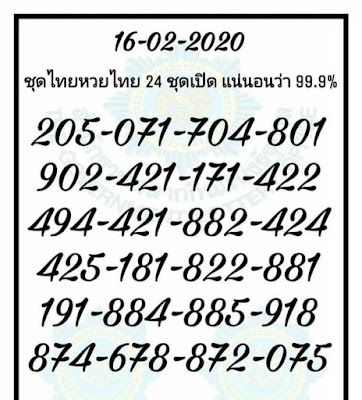 Thai Lottery Down Touch Facebook Timeline Blogspot 16 February 2020