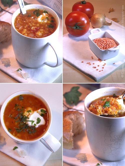 błyskawiczna zupa z czerwonej soczewicy i pomidorów