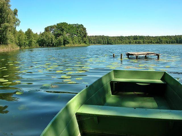 łódka, woda, lasy, jezioro