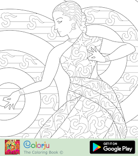 Free Indian girl classical dancing coloring page.