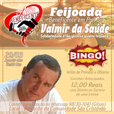 FEIJOADA BENEFICENTE EM PROL DO VALMIR DA SAÚDE 29/03/2020
