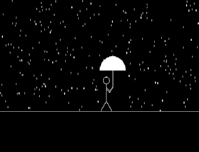 Program in c to draw a Man walking in the rain using graphics program