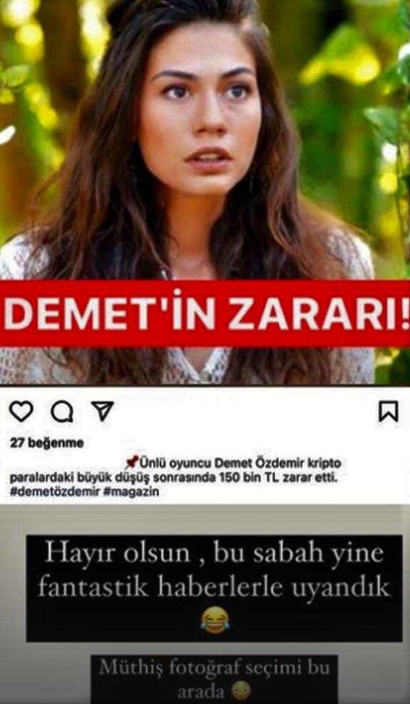 A statement regarding Demet Özdemir's crypto-currency