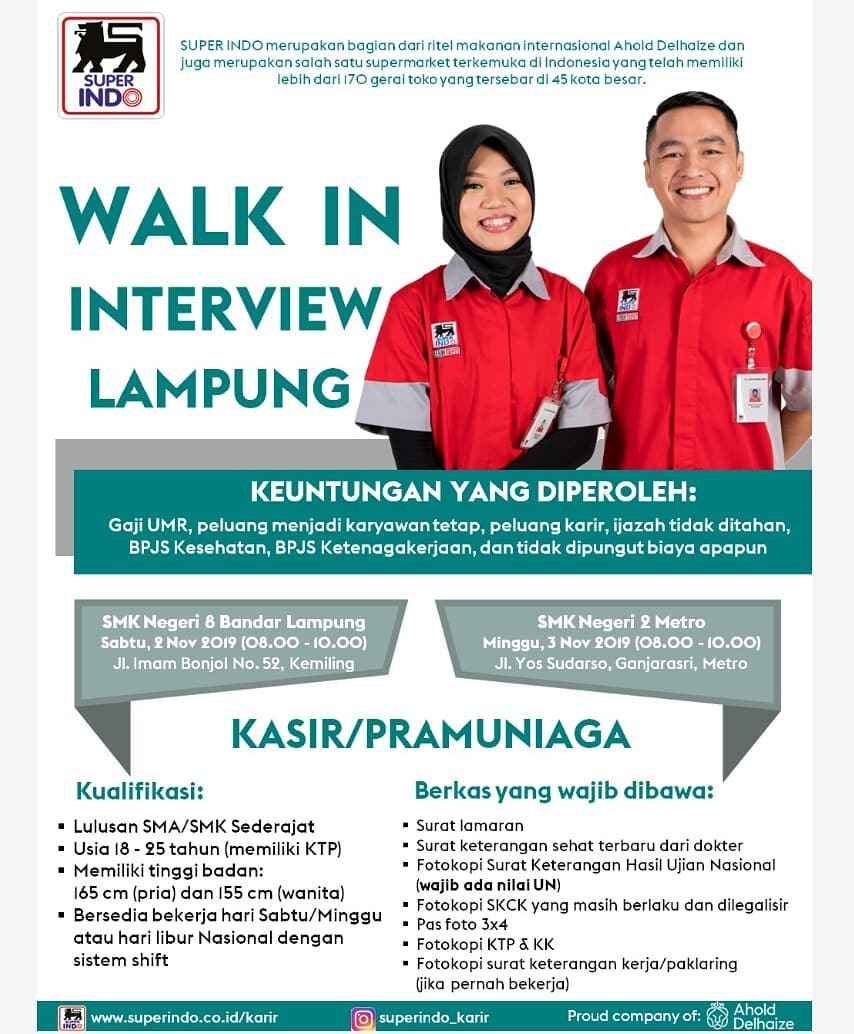Lowongan Kerja Loker Sma Smk D3 S1 Super Indo Lampung November 2019