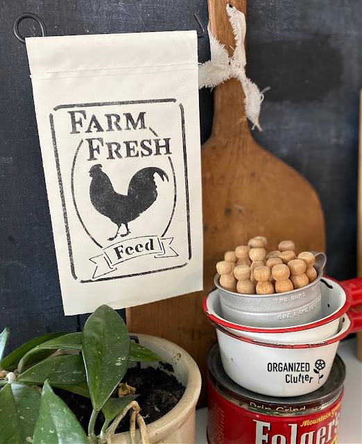 A Dollar General Garden Flag Farmhouse Style Makeover
