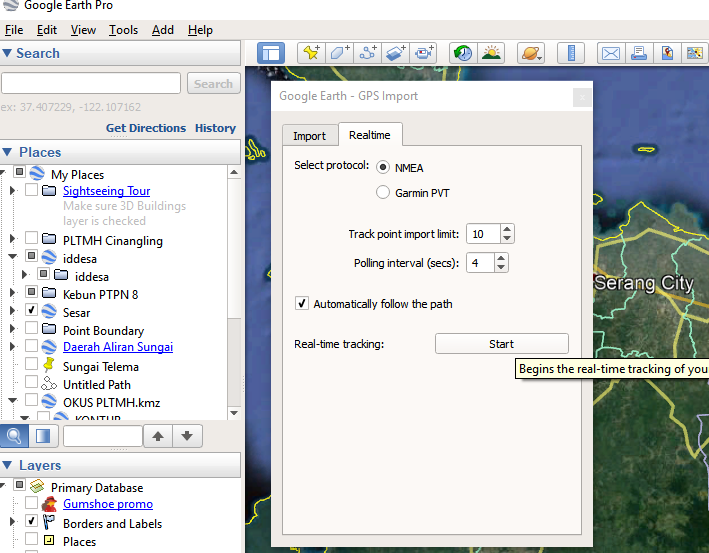 Tracking Live GPS dengan Google Earth - Share to The World