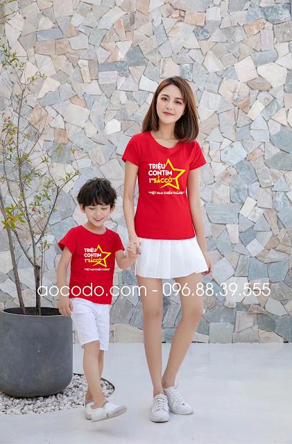 Áo phông cờ đỏ sao vàng cách điệu cho mẹ và bé