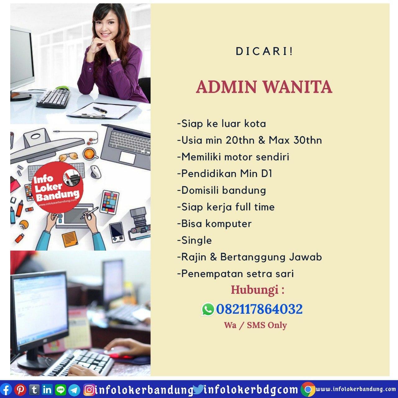 Lowongan Kerja Admin Wanita Bandung April 2020