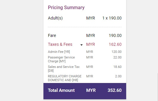 Booking Fee Tax for Malindo Airlines