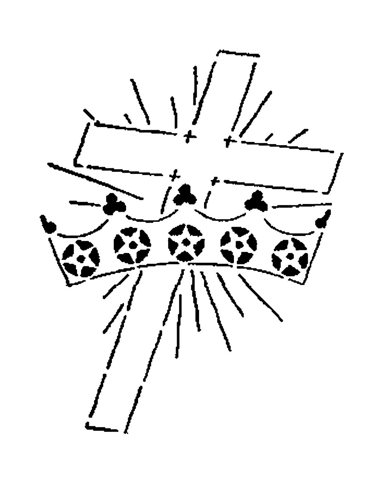 Digital Stamp Design Religious Cross And Crown Digital