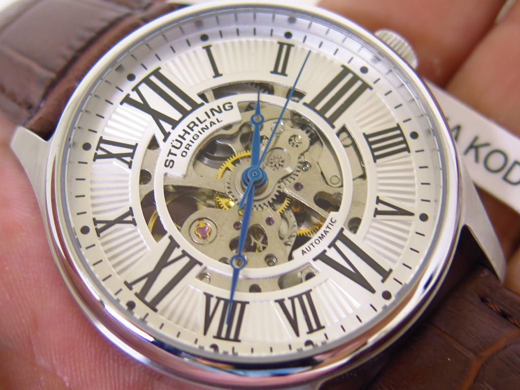 STUHRLING WHITE SILVER SKELETON - AUTOMATIC