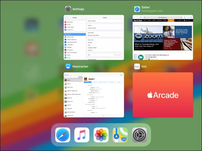 الصور المصغرة للتطبيق في App Switcher على iPad.