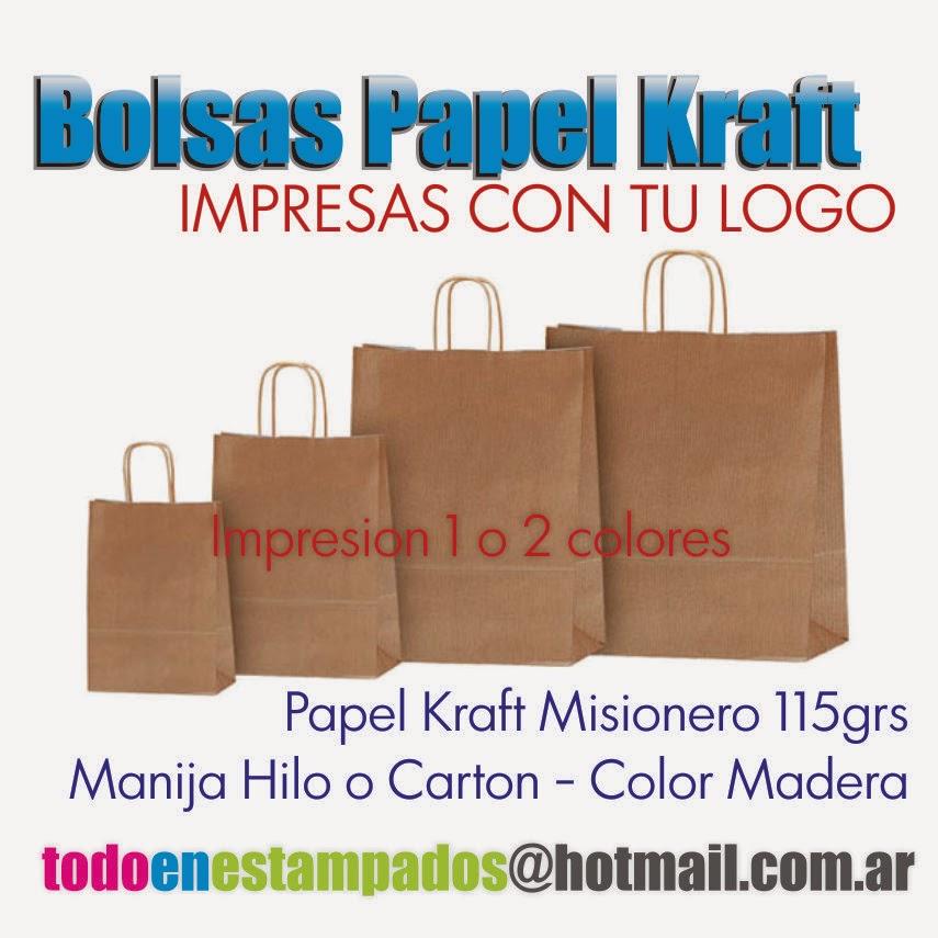 05d9c4e46 Todo en Estampados: Bolsas Papel Kraft Impresas