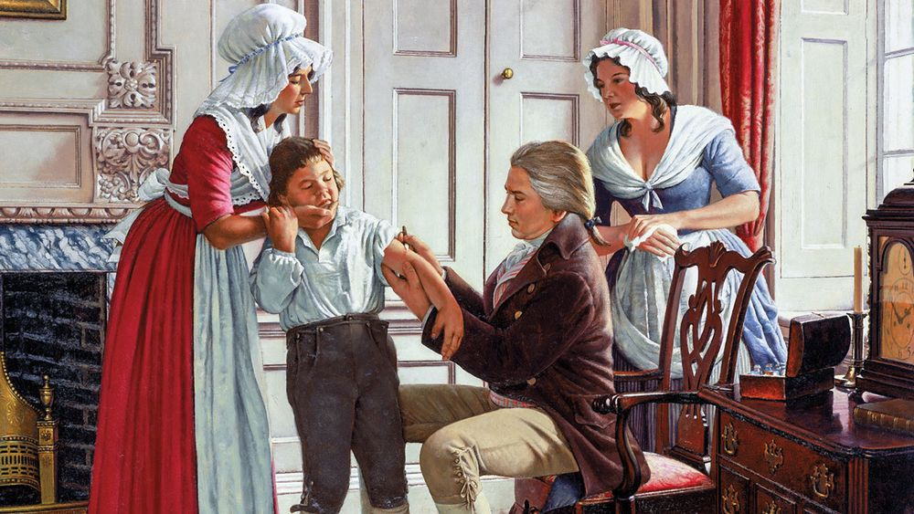 Edward Jenner administers the first smallpox vaccine into James Phipps's arm in 1796