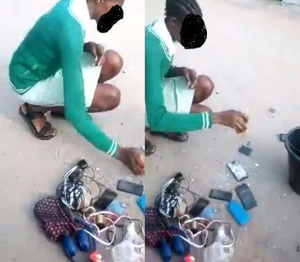Punishment:Teacher, asks female student to destroy her phones and that of her schoolmates (pictures)