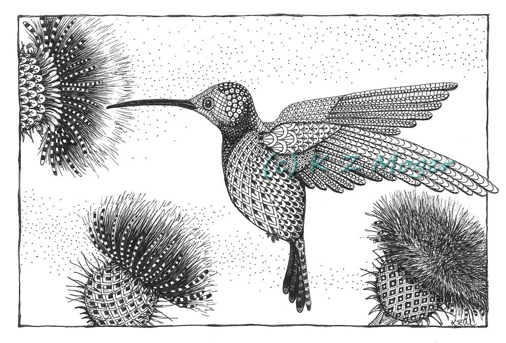 12-Hummingbird-Kristin-Moger-Animal-Portraits-Dressed-with-Zentangle-Textures-www-designstack-co