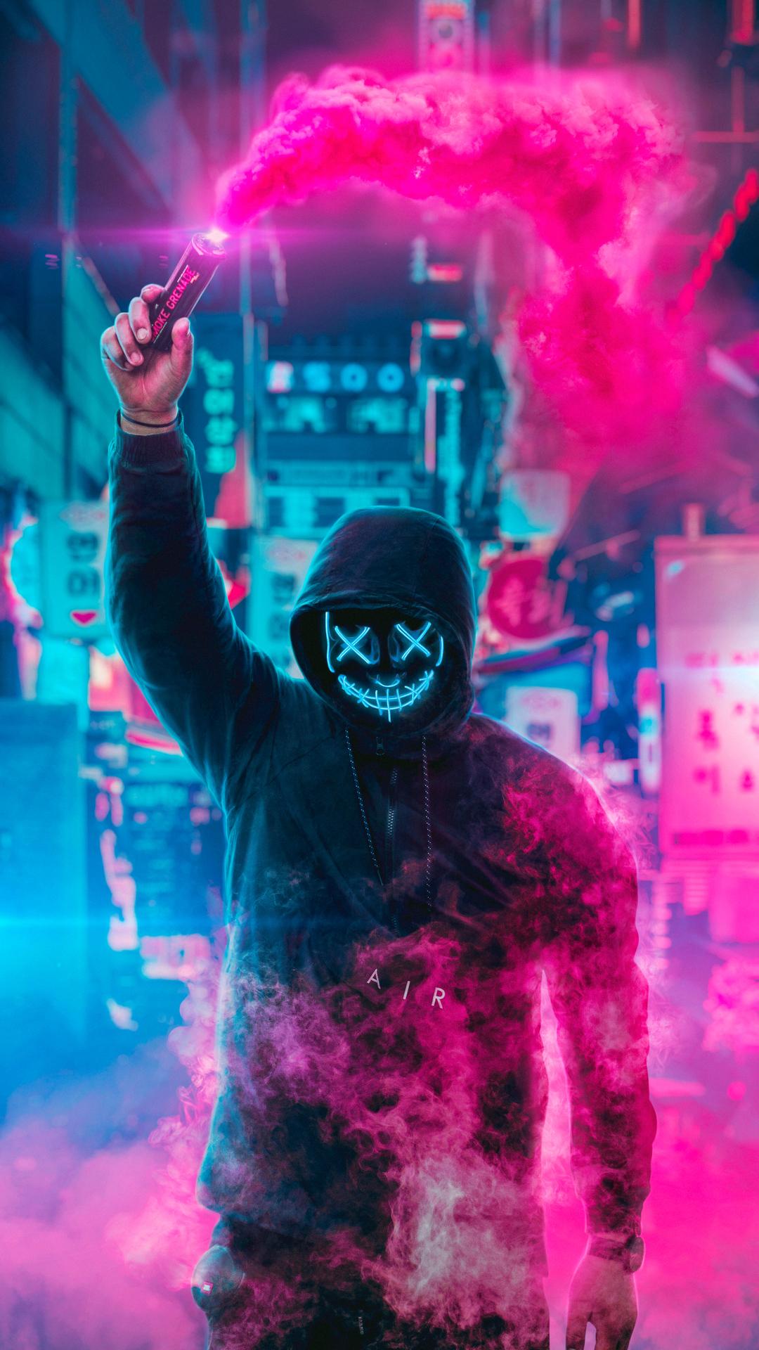 Mask Guy Neon Wallpaper