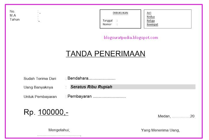 File Tanda Terima Dan Kwitansi Surat Pedia