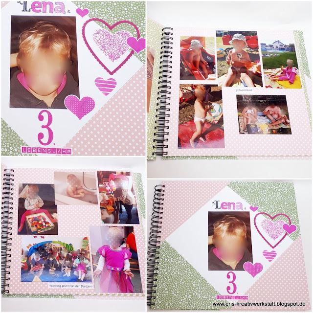 Großes Fotoalbum mit Ringbuchbindung zum 3. Geburtstag eines Mädchens Stampin' Up! www.eris-kreativwerkstatt.blogspot.de
