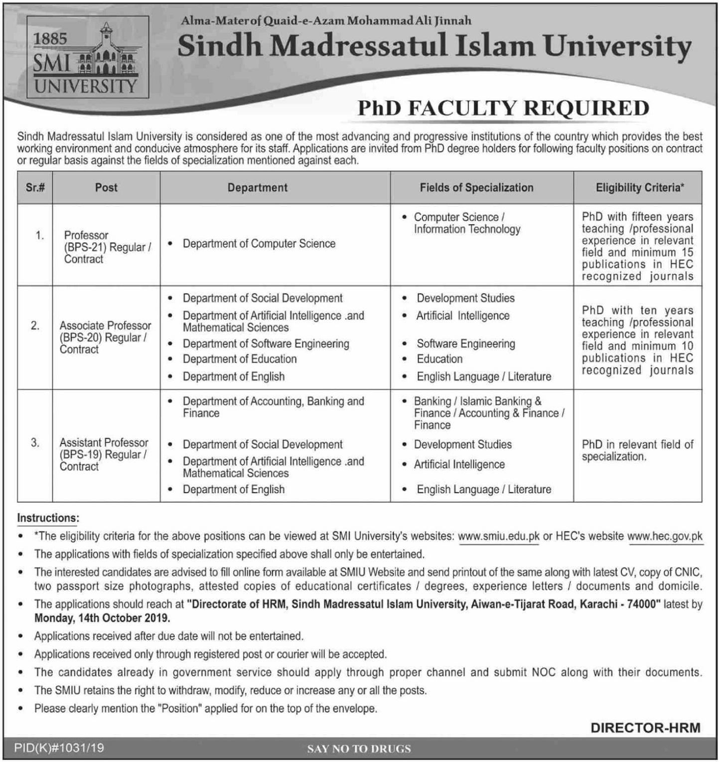 Sindh Madressatul Islam University Karachi Jobs 2019