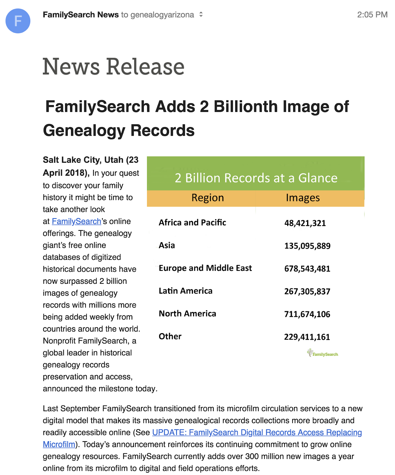Genealogy's Star: FamilySearch Collections Climb to 2