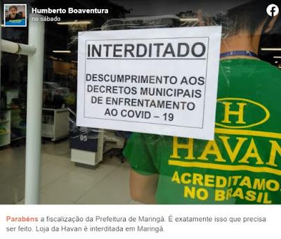 A interdição da Havan viralizou nas redes sociais, no sábado (5). Café com Jornalista