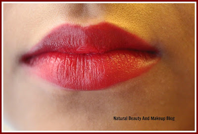 wearing Colorbar Sweetheart 023M Matte Touch Lipstick with Lakme 9-5 Red Alert Lip Liner