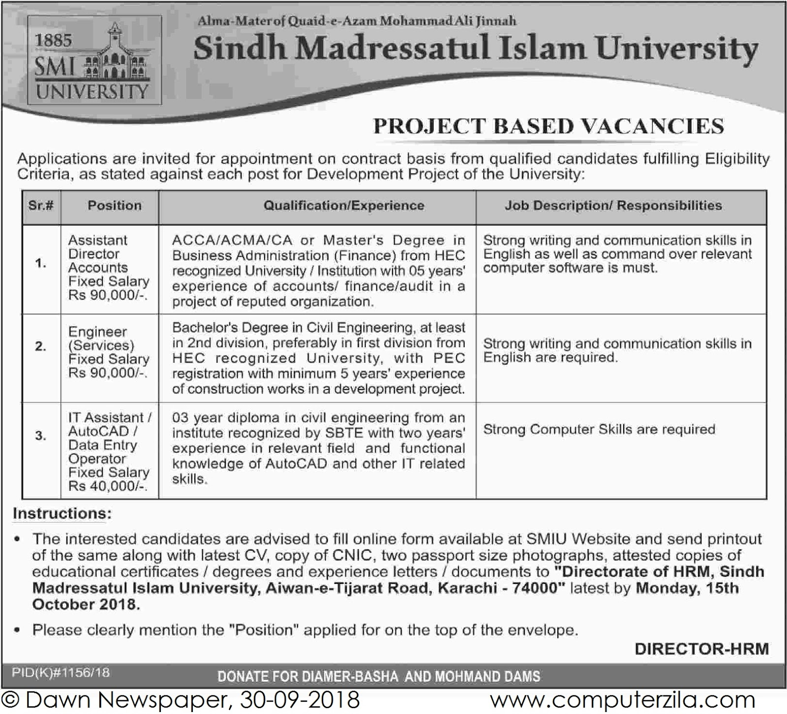 Project Based Vacancies at Sindh Madressatul Islam University