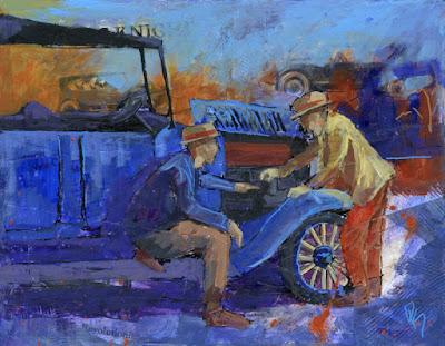 art painting collage antique car automotive