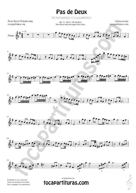 Flauta Travesera (traversa) Partitura de Pas de Deux Sheet Music for Flute and Recorder Music Scores Tono Original Sol Mayor (G Major)  PDF/MIDI de Flauta Travesera